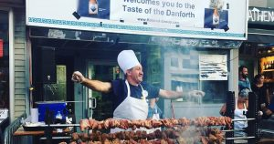 The dancing man cooking chicken delights crowds at Taste of the Danforth