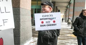 A tiny crowd showed up in Toronto to rally in support of Don Cherry