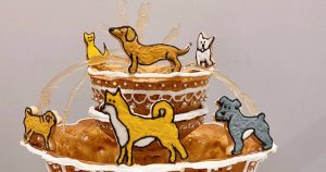 Someone in Toronto created a gingerbread version of the Berczy Park dog fountain
