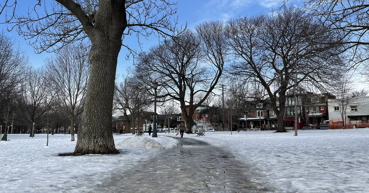 People are slipping on icy sidewalks all over Toronto right now